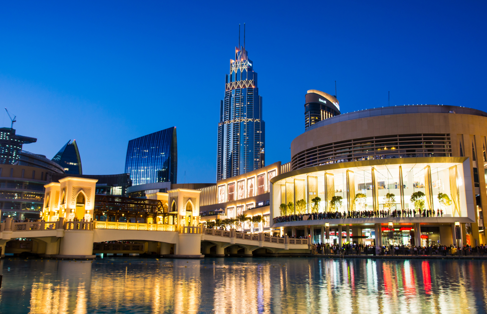 view of the Dubai Mall at night, one of the best things to do in Dubai
