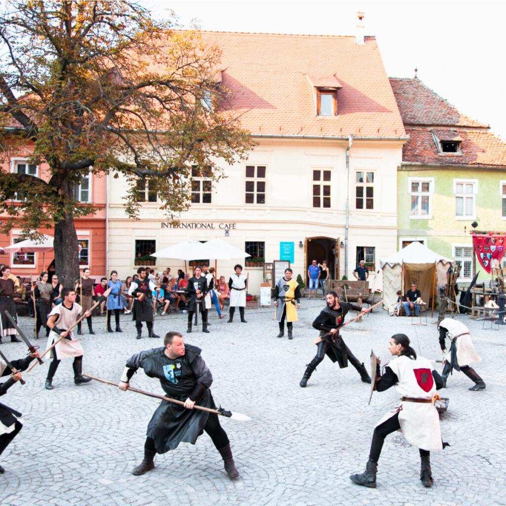 Sighișoara Medieval Festival battle re-enactment.
