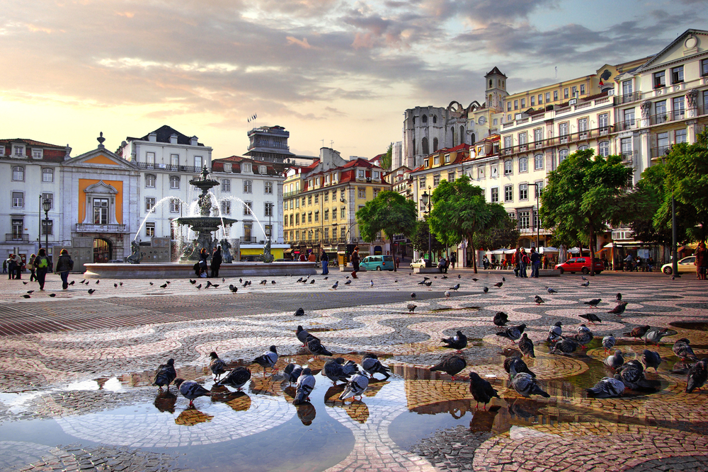 Rossio Square in old downtown Lisbon, Portugal