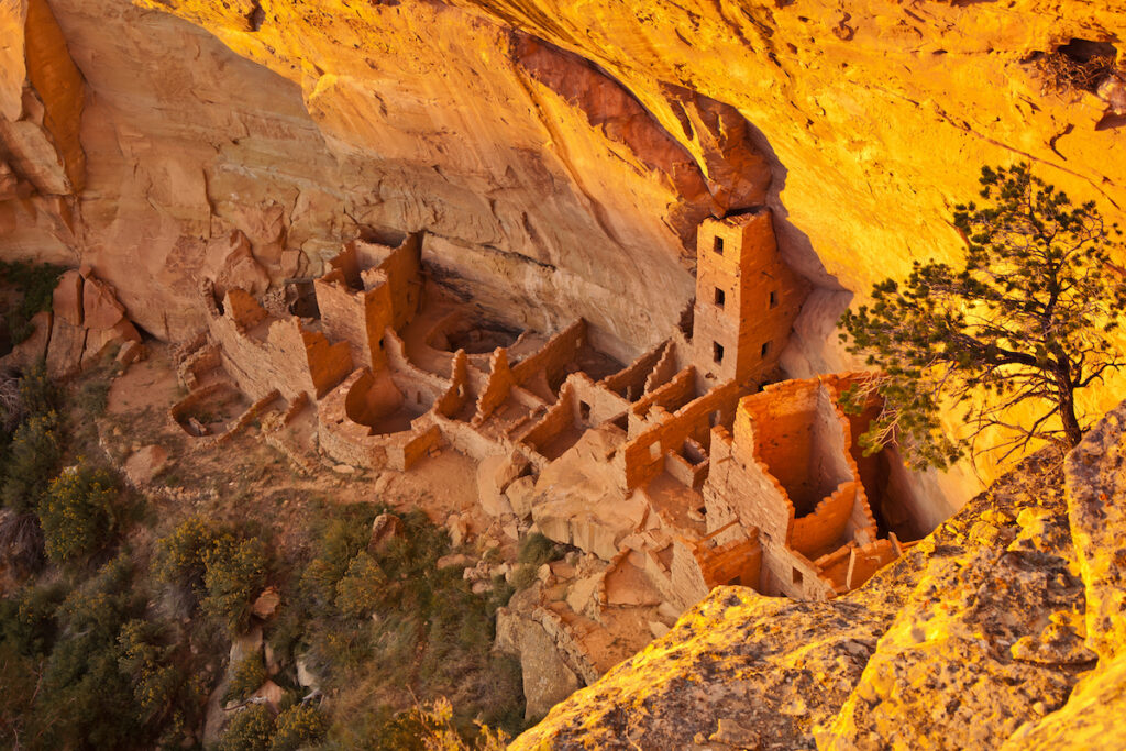 The cliff dwellings of Mesa Verde. Mesa Verde National park, Colorado, USA.
