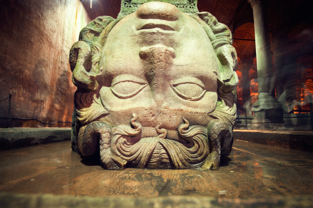 Gorgon Medusa, The Basilica Cistern is the largest of several hundred ancient water reservoirs.