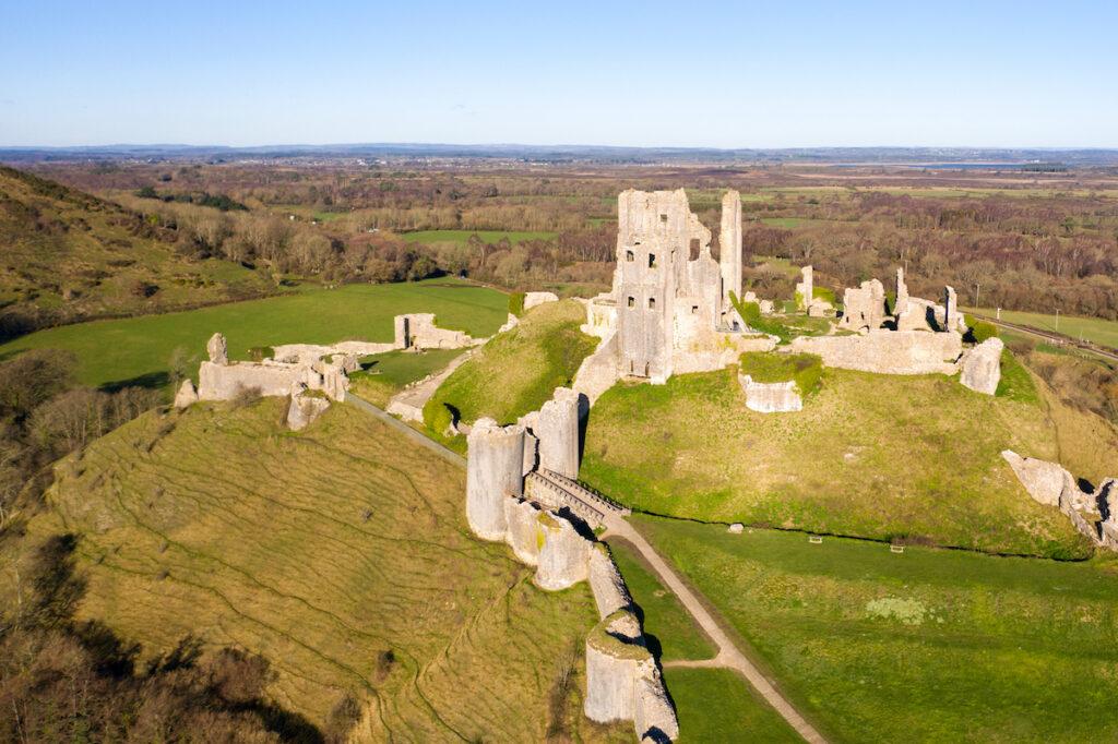 Corfe Castle - Dorset, Purbeck Hills, England.