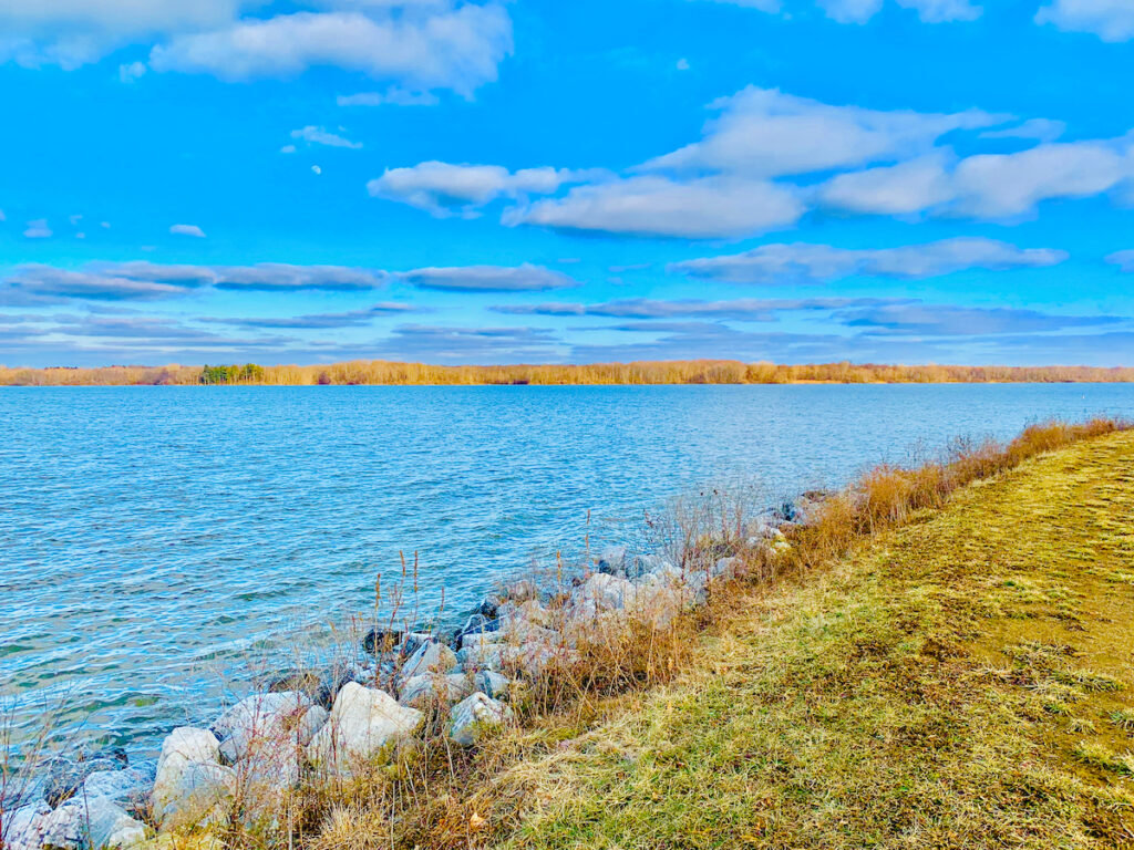 Blue sky day at Alum Creek State Park, Ohio, viewing the water.
