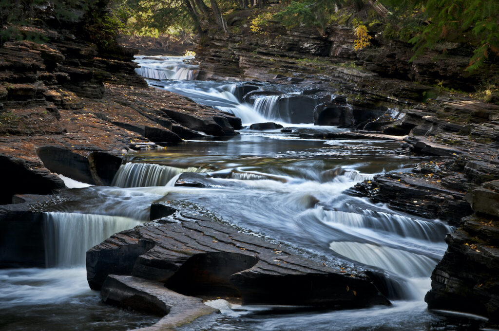 The Presque Isle River winds through the Porcupine Mountains Wilderness State Park in Michigan's Upper Peninsula.
