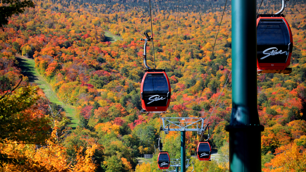 Fall foliage as seen from the Gondola Skyride in Stowe, Vermont