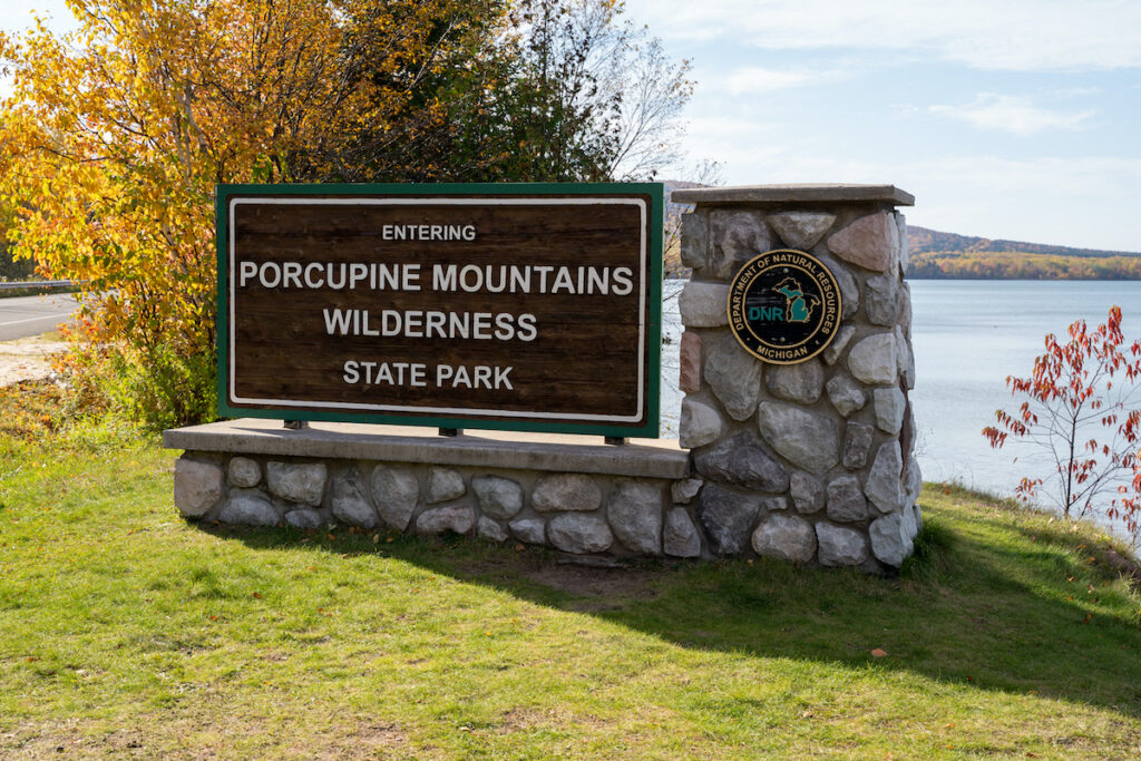 Sign for the Porcupine Mountains Wilderness State Park, also known as the Porkies, along Lake Superior