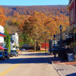 view of the main street of the Allegheny Mountain town of Hot Springs, Virginia