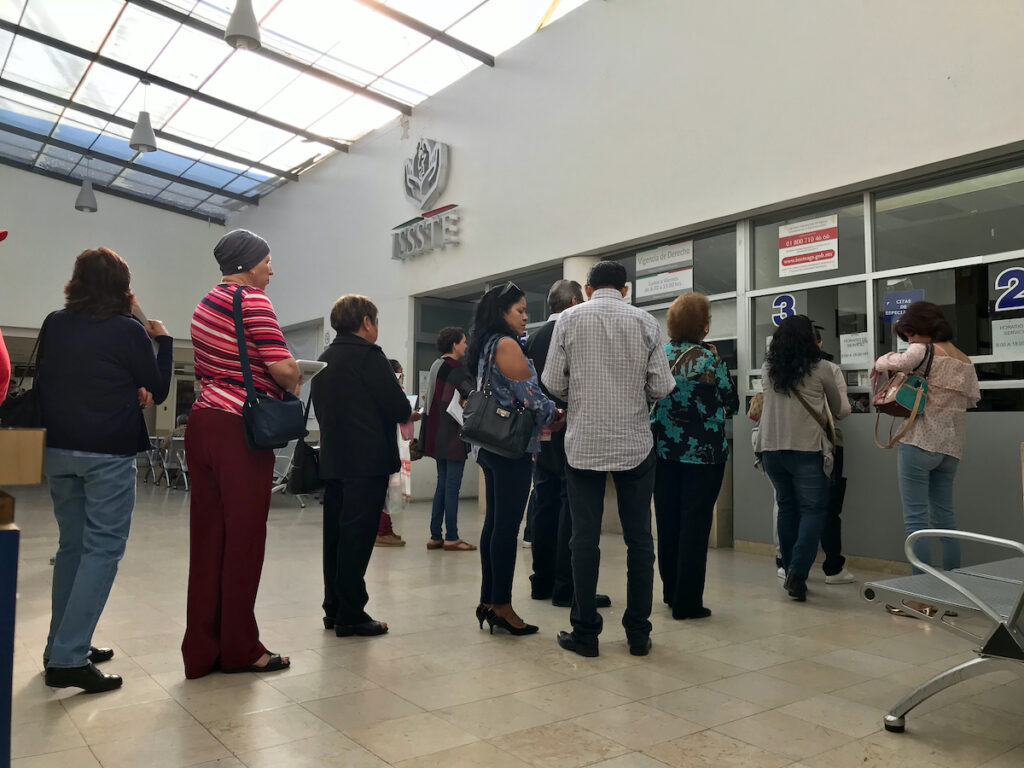 People waiting for the turn to be treated at a health institution in Mexico ISSTE institute of safety and health of state workers in Aguascalientes, Mexico