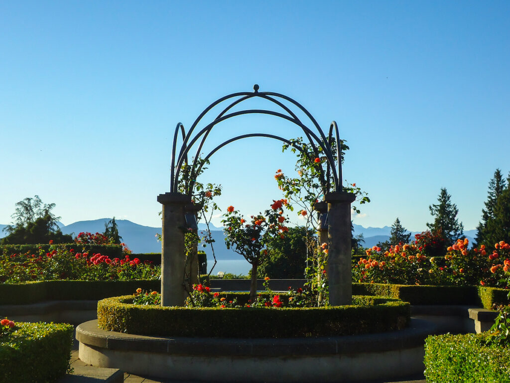 View of the famous rose garden of the university of British Columbia campus facing the pacific ocean in Vancouver.