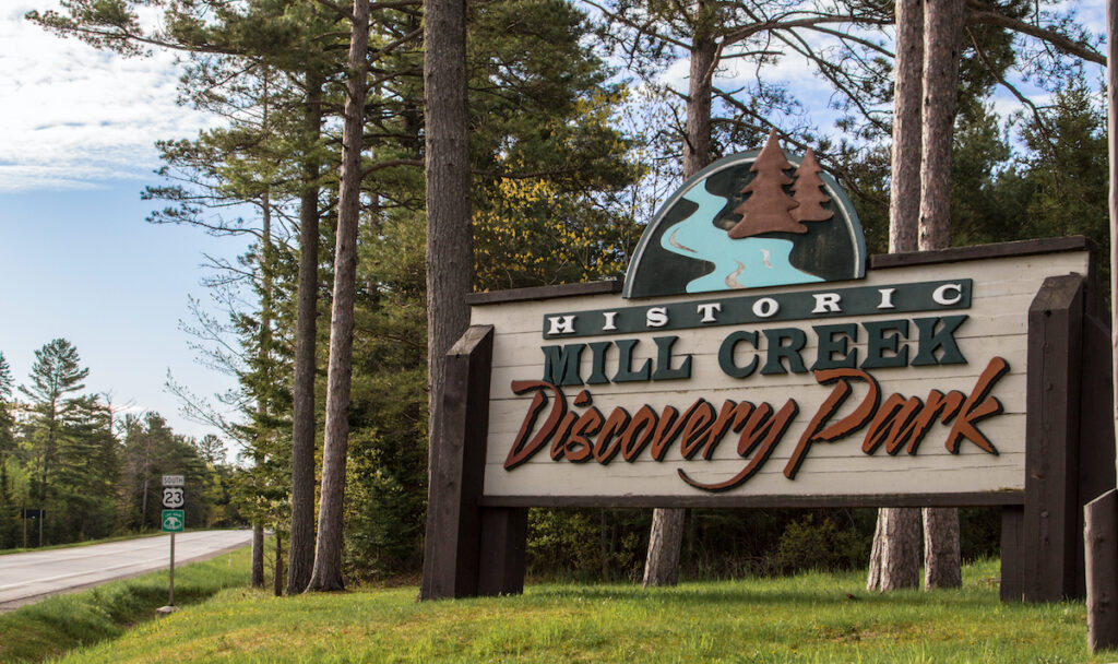 Entrance sign to the Mill Creek Discovery Center.