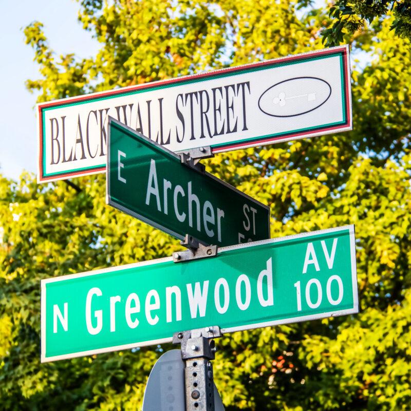Black Wall Street at the corner of Archer Street and North Greenwood Avenue, Tulsa, Oklahoma.