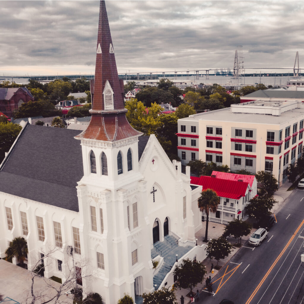 Mother Emanuel AME Church against the Charleston skyline on the 5th anniversary of the murder of 9 Bible study goers.