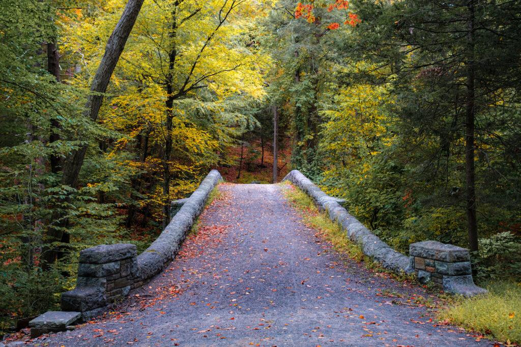 Pathway bridge located in the Rockefeller Park Reservation, Sleepy Hollow, New York.
