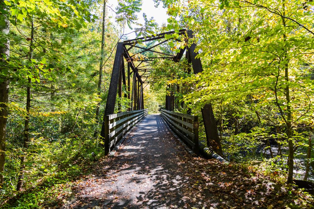 The Virginia Creeper Trail, the most popular bike route in the region. Abingdon, VA