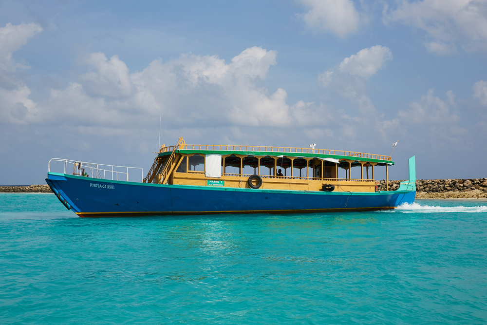 Ferry on the water by the port of Male in the Maldives