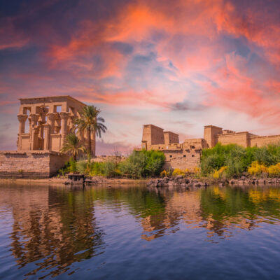 Temple of Philae along the Nile River, viewable along the SS Sudan Cruise route.