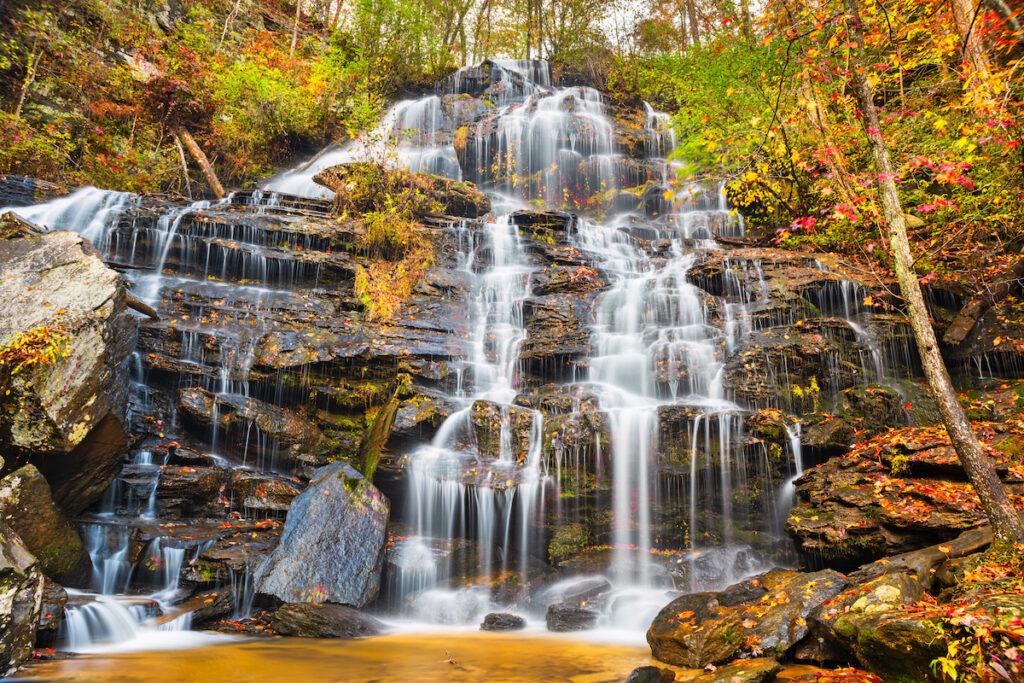 Issaqueena Falls during autumn season in Walhalla, South Carolina, USA.