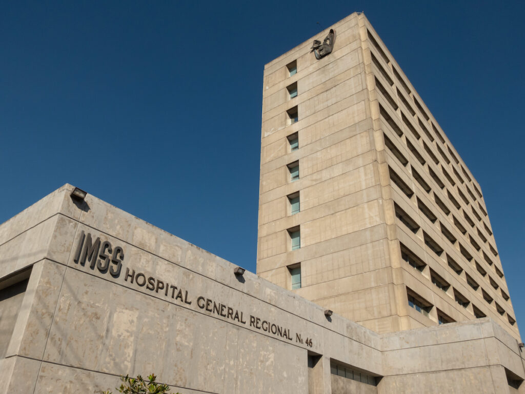 Facade of the regional general hospital number 46 of the Mexican social security institute (IMSS).