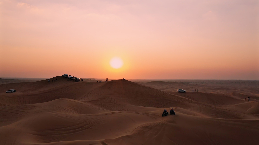 Aerial view of sunset over the dunes in Dubai
