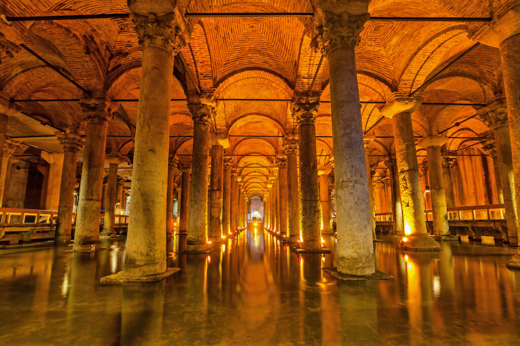The Basilica Cistern an underground water reservoir build by Emperor Justinianus in 6th century, Istanbul, Turkey.