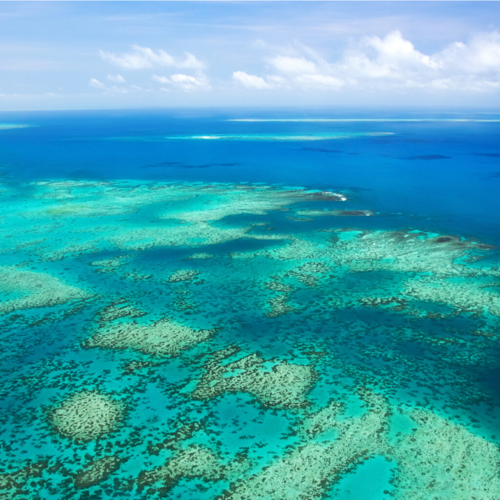 Aerial view of the Great Barrier Reef, Australia.