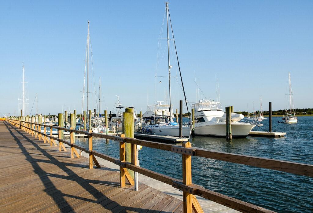 Boats at dock in Beaufort, Carolina.