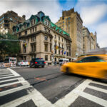 Street view of the buildings and streets of Manhattan's Upper East Side village in New York City, New York.