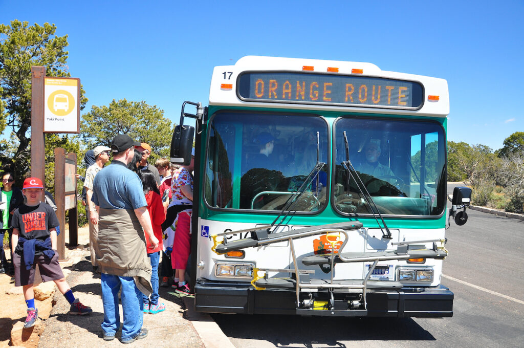 Grand Canyon National Park is the United States' 15th oldest national park.  There are free shuttle bus service on the South Rim