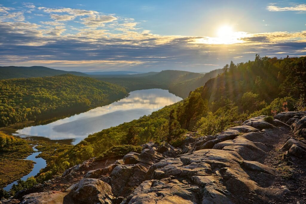 Lake of the Clouds sunset, Porcupine Mountains State park in Upper Michigan.