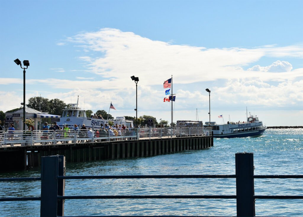 Ferries arrive from the mainland at the town pier on Mackinac Island.
