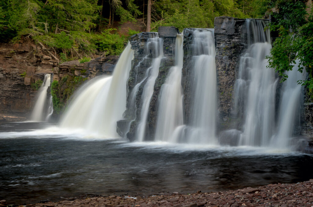 The Manabezho Falls, located in the Porcupine Mountains State Park.