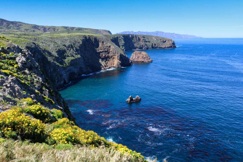 Deep blue sea at the cliff side of the  Coast of Santa Cruz Island, Channel Islands National Park.