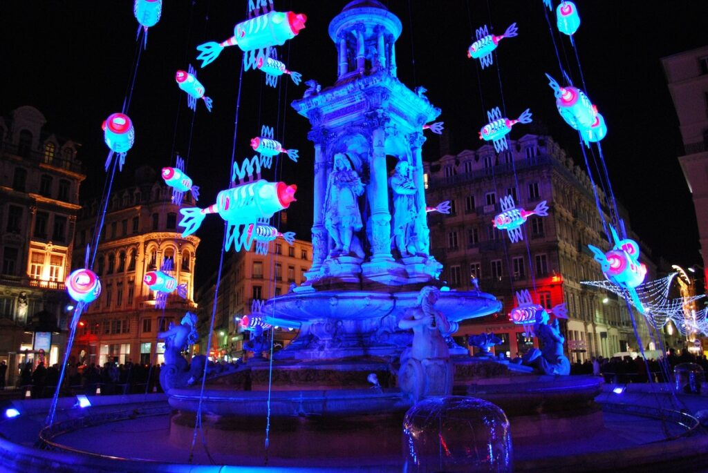 Festival of lights, fête des lumières, waterfall at Jacobins Square, Lyon, France.