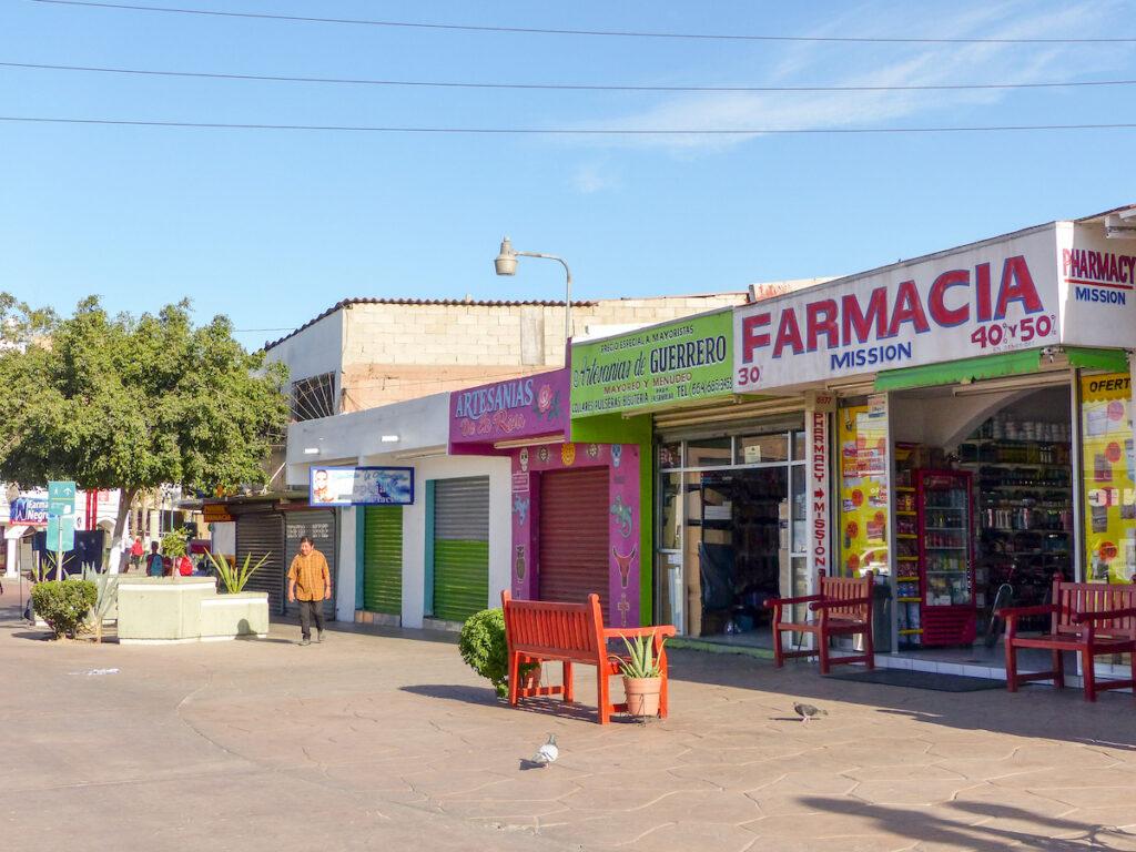 Pharmacy and shops in Tijuana, Mexico.