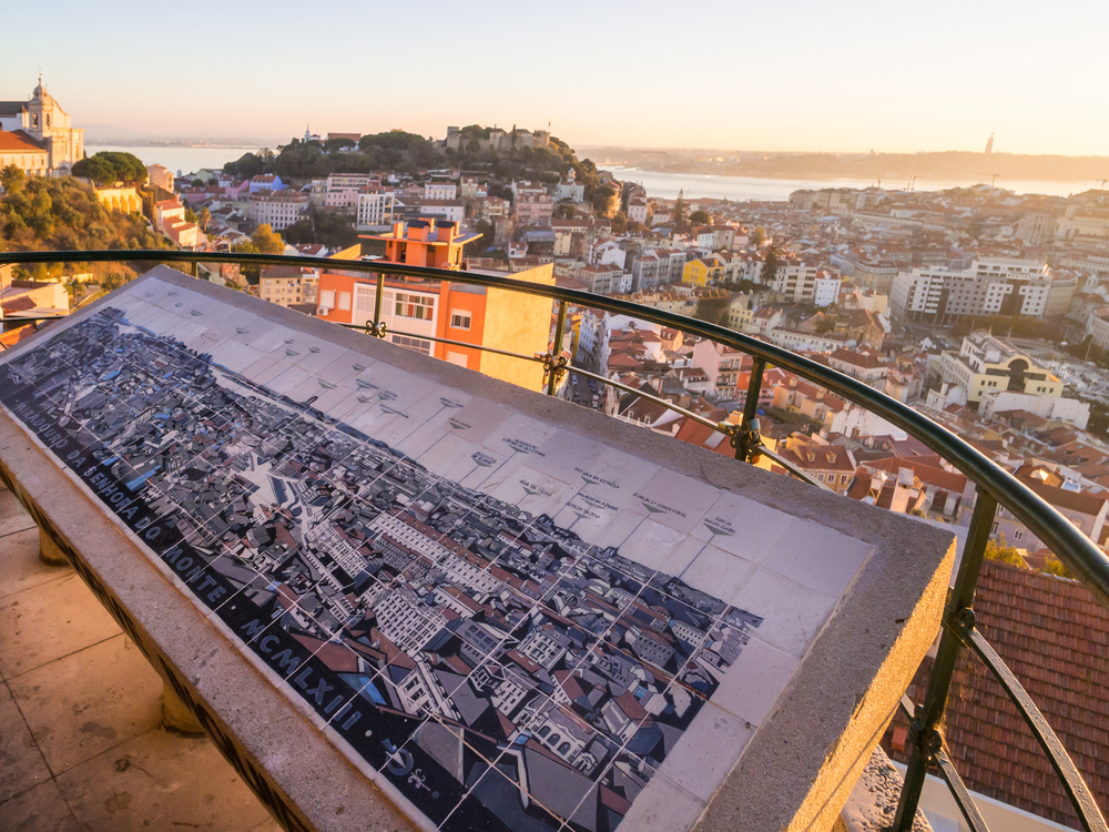 Cityscape of Lisbon, Portugal, at sunset on a November day, as seen from Belvedere of Our Lady of the Hill viewpoint.