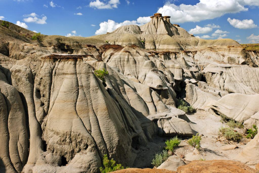 View of the Badlands and hoodoos in Dinosaur provincial park, Alberta, Canada.
