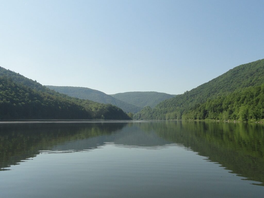 Lake view of Sinnemahoning State Park, shared by Cameron and Potter counties, Pennsylvania.