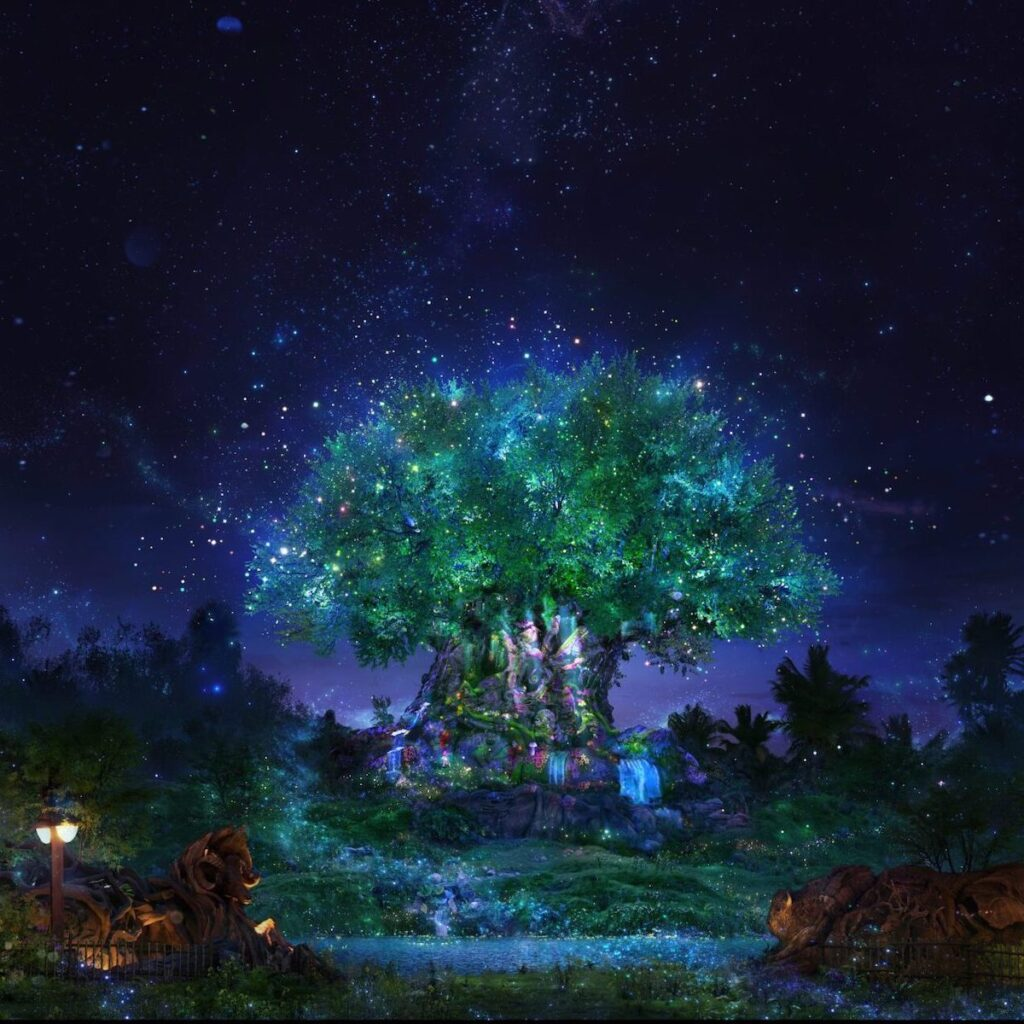 L'arbre de vie à Disney's Animal Kingdom, un spectacle d'artiste Beacon of Magic pour le 50e anniversaire de Disney.