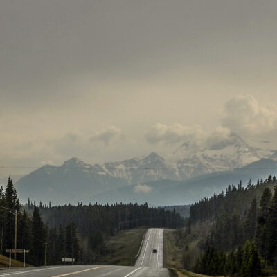 Highway 11 road and mountain view.
