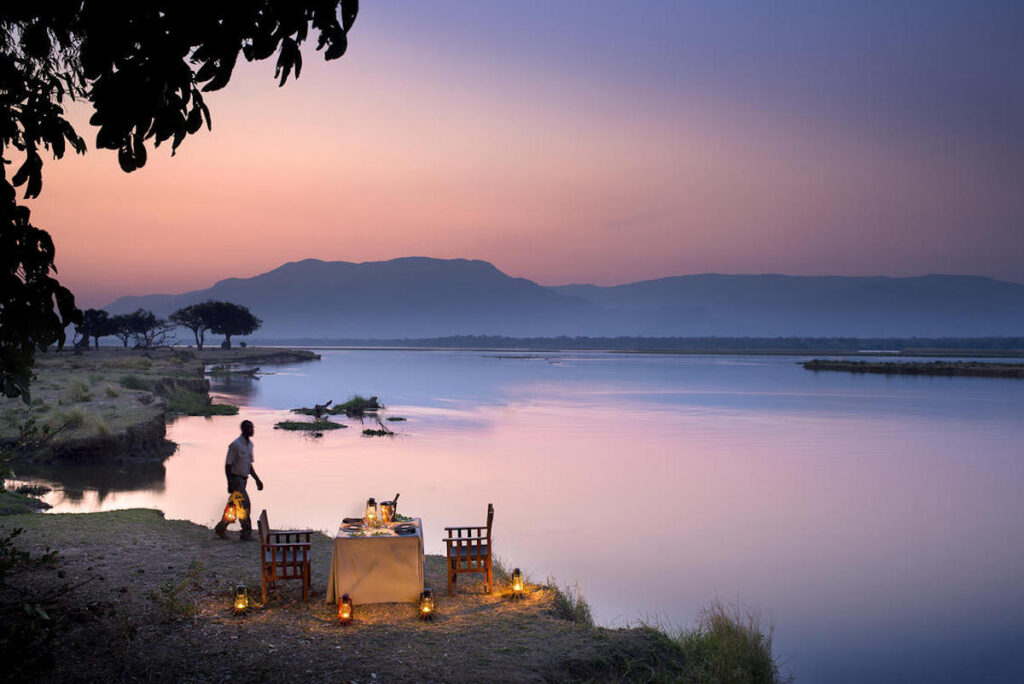 Dinner time on the banks of the Zambezi River, Mana Pools, Zimbabwe.