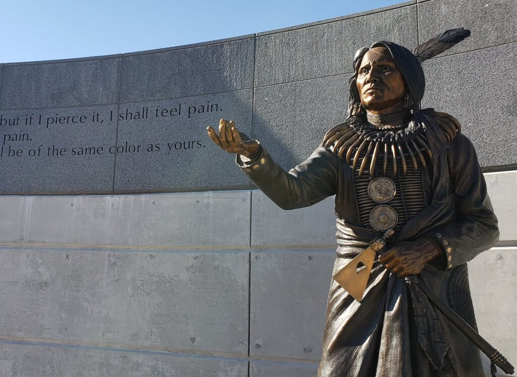 Chief Standing Bear statue along Centennial Mall in Lincoln, Nebraska.