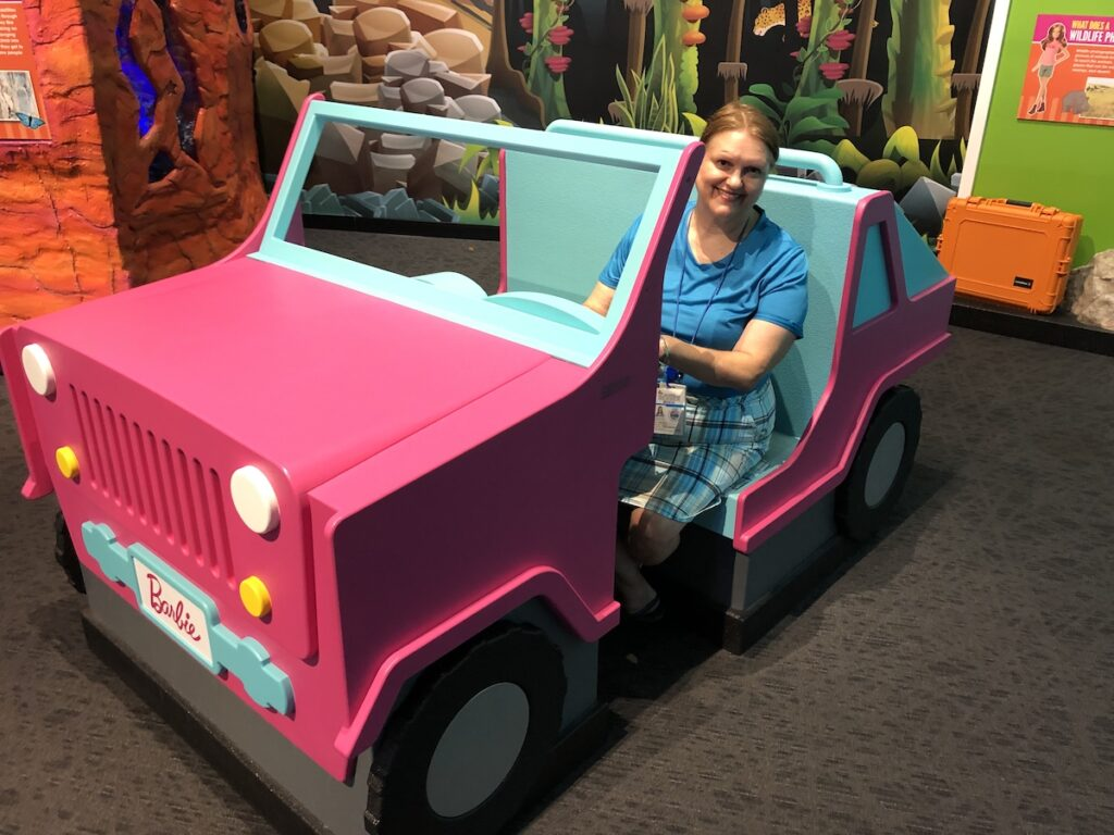 Author, Robin in Life Size Barbie Jeep.