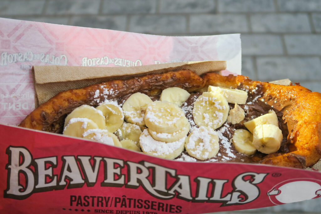 Beavertail pastry with banana topping