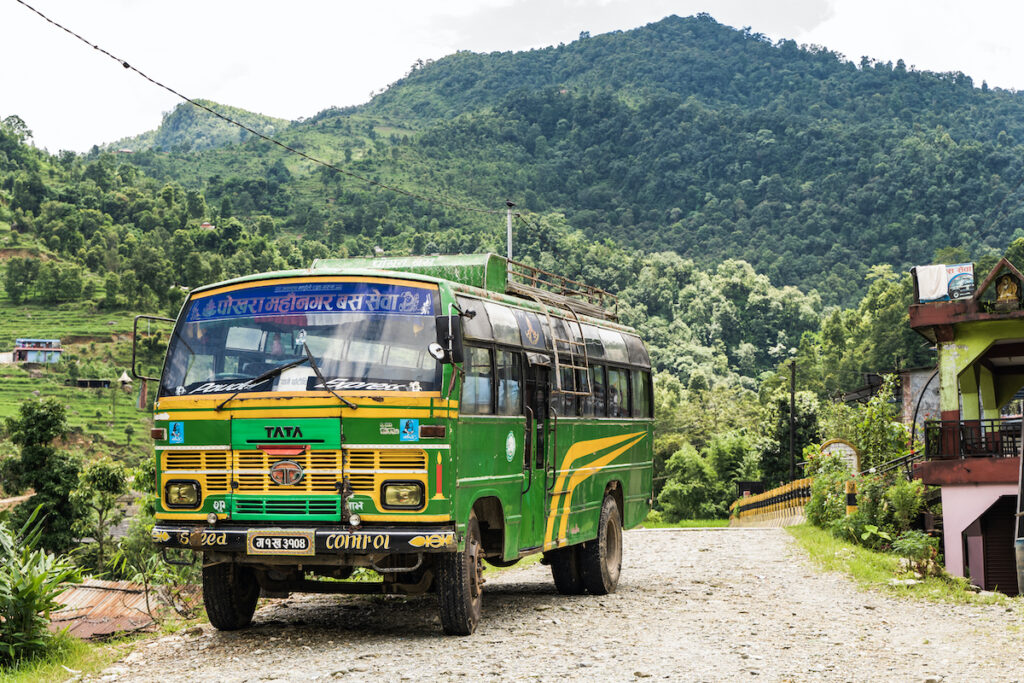 A bus in the village of Ghachhina, Nepal