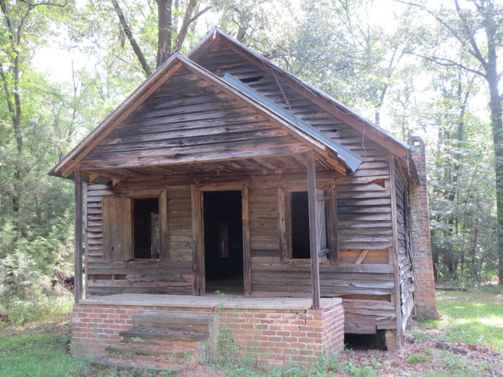 An eerie old schoolhouse from years gone by at Old Cahaba Archaeological Park in Orville.