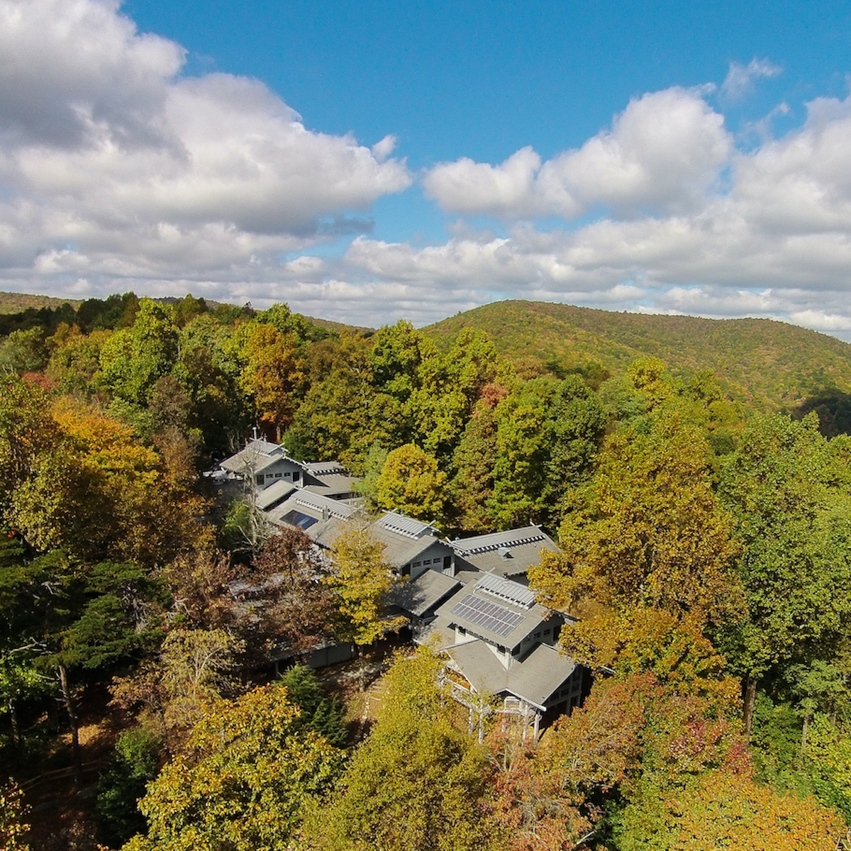 Nestled in the north Georgia mountains, the Len Foote Hike Inn blends in with its surroundings.