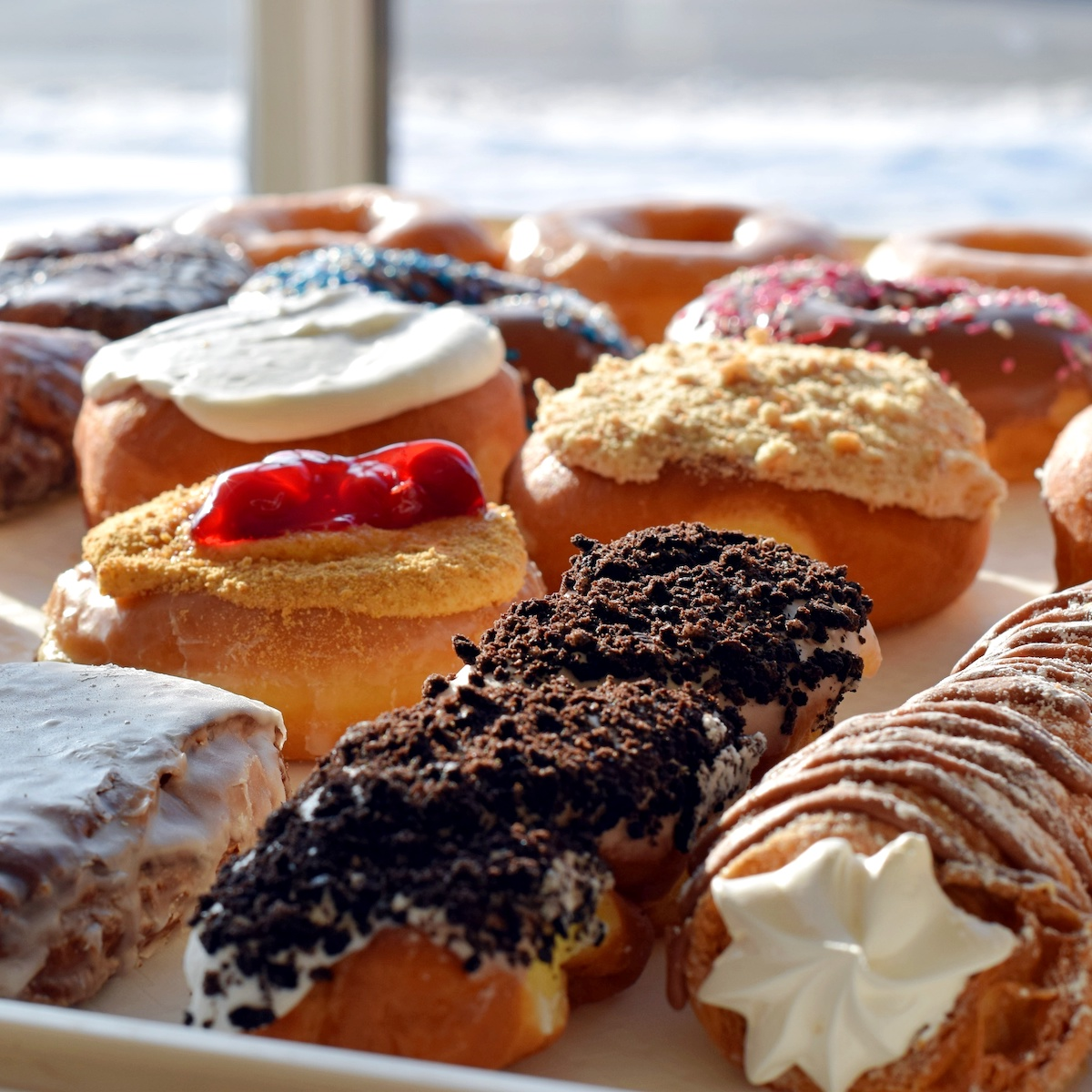 Donut display at Martin's Donut Shop