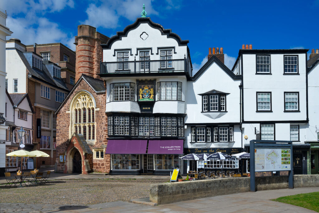 Cathedral square in Exeter, England