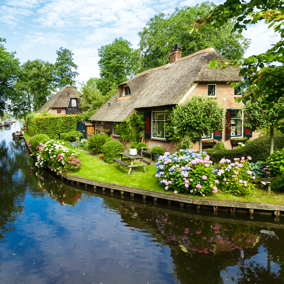 A canal in Giethoorn, Netherlands