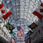 International flags at O'Hare International Airport.
